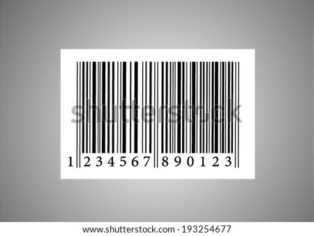 Bar code vector art illustration sign, black and white graphic design, isolated on gray background - stock vector