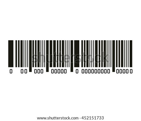 Bar code with serial number black and white icon, vector illustration graphic design. - stock vector