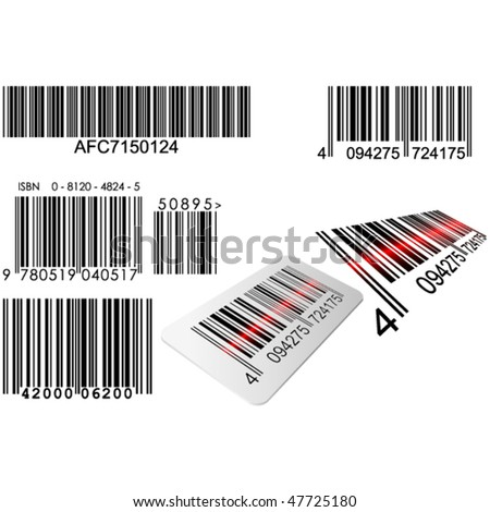 Bar codes in different styles with red laser line - stock vector