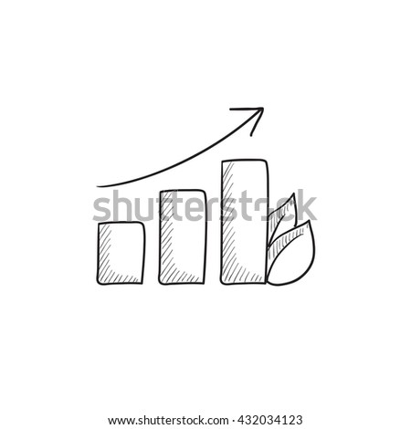 Bar graph with leaf vector sketch icon isolated on background. Hand drawn Bar graph with leaf icon. Bar graph with leaf sketch icon for infographic, website or app. - stock vector