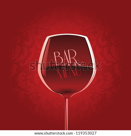 Bar menu design template with wine glass on red floral damask background - stock vector
