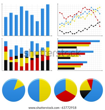 Bar Pie Graph Chart - stock vector