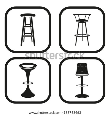 Bar stool icon - four variations - stock vector