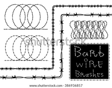 Barb wire (barbed wire) set - brush in Swatch. Barb wire strokes - isolated black silhouette on white background, vector. Protection concept design. - stock vector