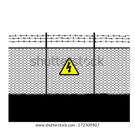 barb with  warning sign High voltage - stock vector