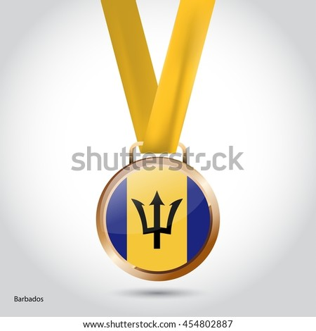 Barbados Flag in Bronze Medal. Olympic Game Bronze Medal. Vector Illustration - stock vector