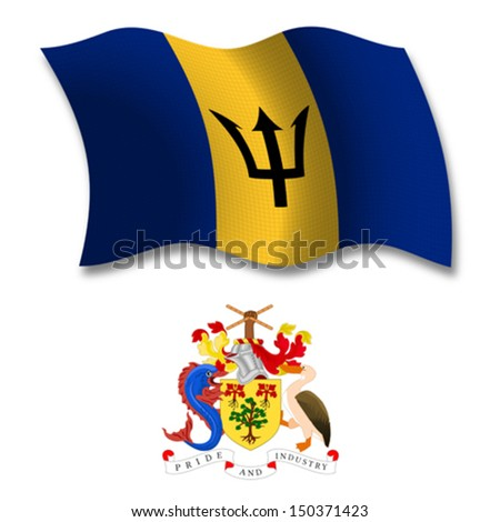 barbados shadowed textured wavy flag and coat of arms against white background, vector art illustration, image contains transparency transparency - stock vector