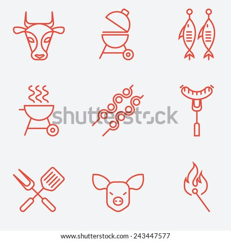 Barbecue and grill icon set, thin line style, flat design - stock vector