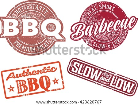 Barbecue BBQ Meat Restaurant Menu Stamps - stock vector