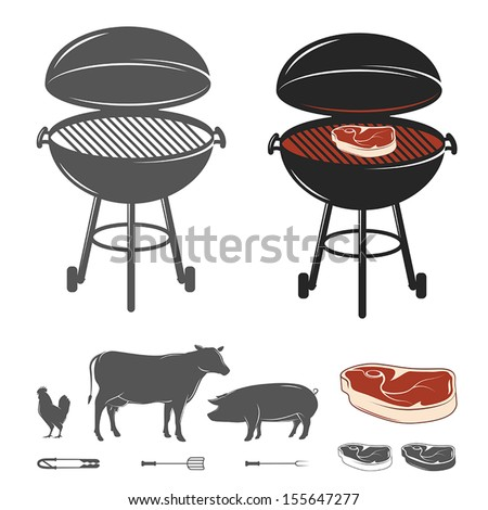 Barbecue elements set - stock vector