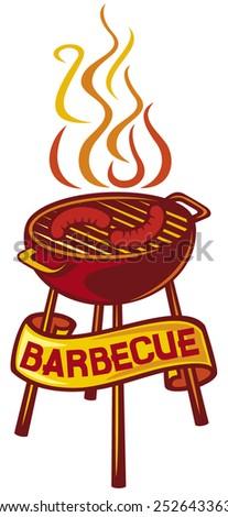 barbecue grill label (barbecue grill symbol) - stock vector