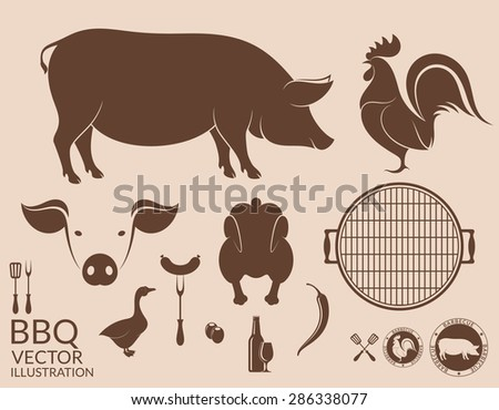 Barbecue grill. Pig. Chicken - stock vector