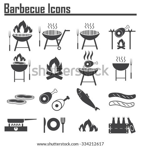 barbecue icons set - stock vector