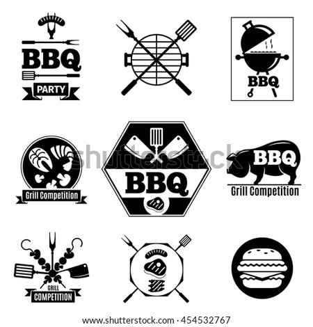Barbecue logo set on white background. Grill black labels. Vector illustration. - stock vector