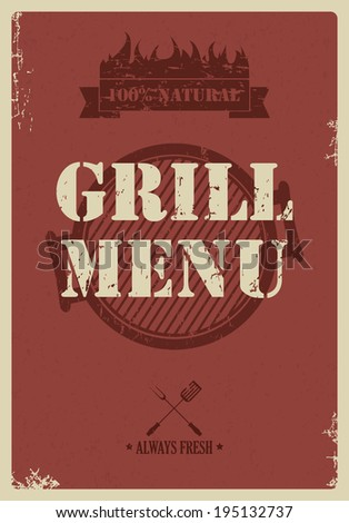 Barbecue menu, vintage style, vector illustration - stock vector