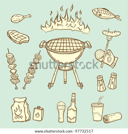 Barbecue party elements - stock vector