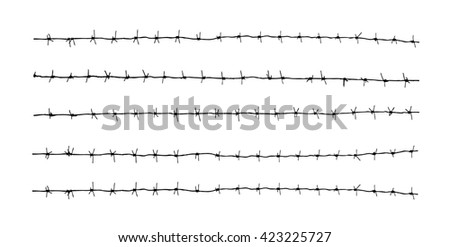 Barbed wire on a white background. Vector art. - stock vector