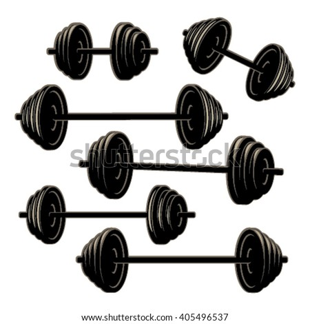 Barbell silhouettes with light effect - isolated on white background - stock vector