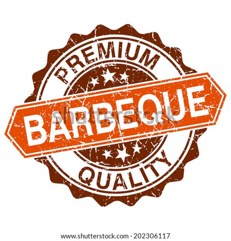 Barbeque grungy stamp isolated on white background - stock vector