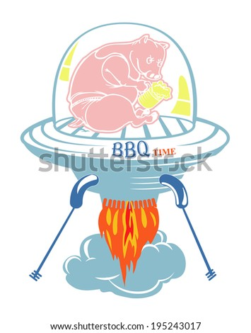 barbeque pig holding beer glass in the stove - stock vector