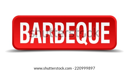 barbeque red three-dimensional square button isolated on white background - stock vector