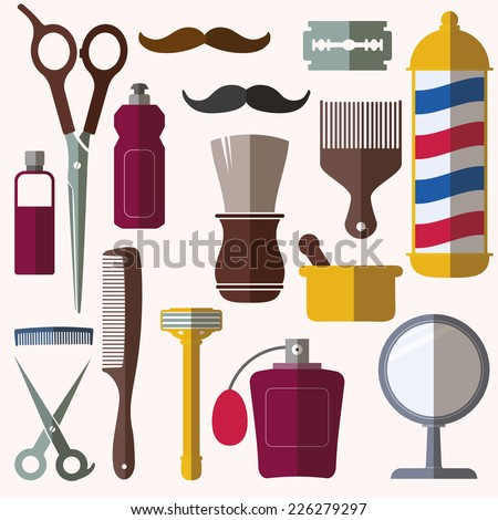 Barber and hairdresser icons set - stock vector