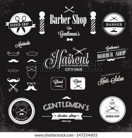 Barber shop labels and icons - stock vector