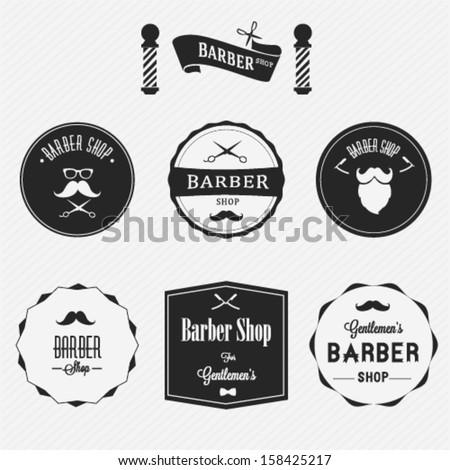 Barber shop labels set - stock vector
