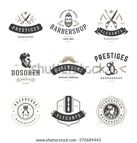 Barber Shop Logos Vector Templates Set. Labels, Badges and Design Elements. Barber shop Logo, Beauty Salon Logo, Hairdresser Logo. Barber Pole Silhouette, Scissors Silhouette, Razor Silhouette. - stock vector