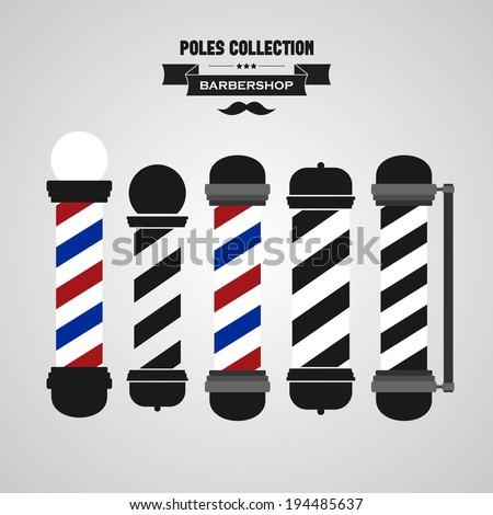 Barber shop vintage pole icons set - stock vector