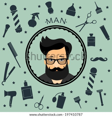 Barber shop vintage seamless background with barber accsessorizes with hipster character - stock vector