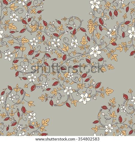 barberry pattern. seamless floral texture with berries - stock vector
