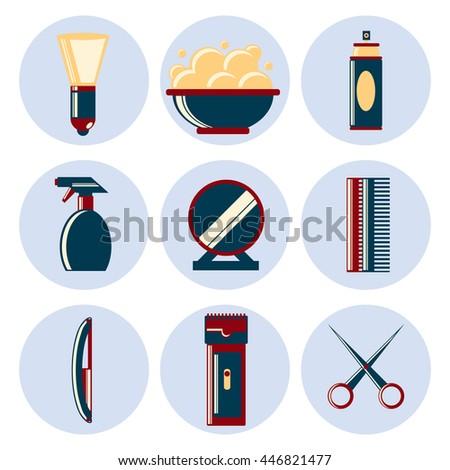 barbershop flat icon set - stock vector
