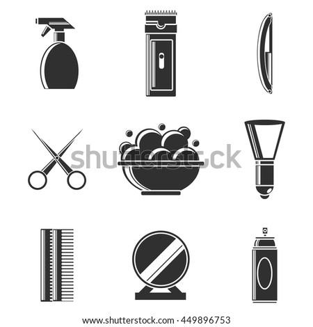barbershop icon set - stock vector