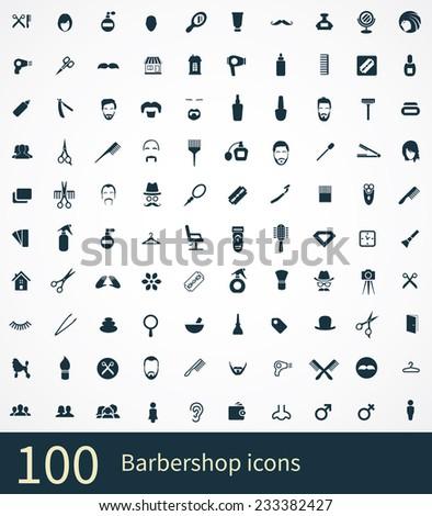 barbershop Icons Vector set. barbershop Icons Symbol set. barbershop Icons Picture set. barbershop Icon Image set. barbershop Icons Shape set. barbershop Icons Sign set 100 barbershop icon - stock vector