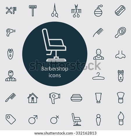 barbershop Icons Vector set. barbershop Icons Symbol set. barbershop Icons Picture set. barbershop Icon Image set. barbershop Icons Shape set. barbershop Icons Sign set outline, thin, flat - stock vector