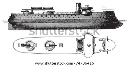 Barbette battleship Amiral-Duperre (France) / vintage illustration from Meyers Konversations-Lexikon 1897 - stock vector