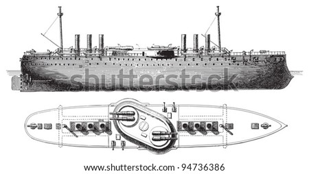 Barbette battleship (Italy) / vintage illustration from Meyers Konversations-Lexikon 1897 - stock vector