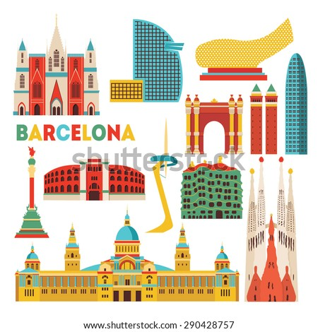 Barcelona detailed monuments silhouette. Vector illustration - stock vector