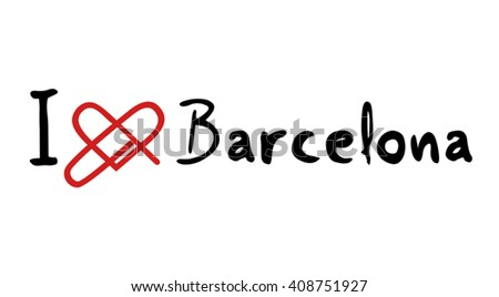 Barcelona love icon - stock vector