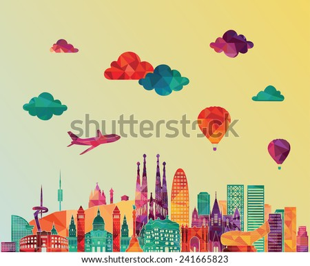 Barcelona skyline detailed silhouette. Vector illustration - stock vector