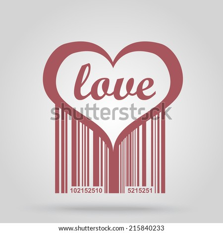 Barcode background with heart theme - vector element for design  - stock vector