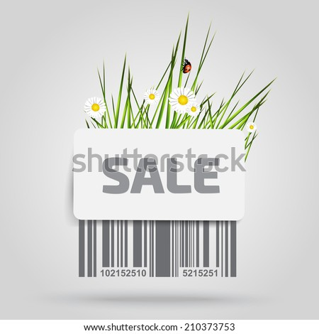 Barcode background with label - sale - vector element for design - spring theme  - stock vector