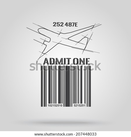 Barcode background with plane theme - vector element for design  - stock vector