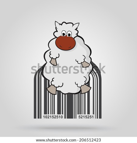 Barcode background with sheep theme - vector element for design - stock vector