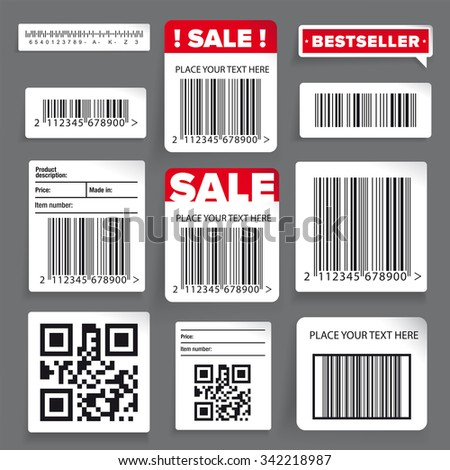 Barcode label and sale vector set - stock vector