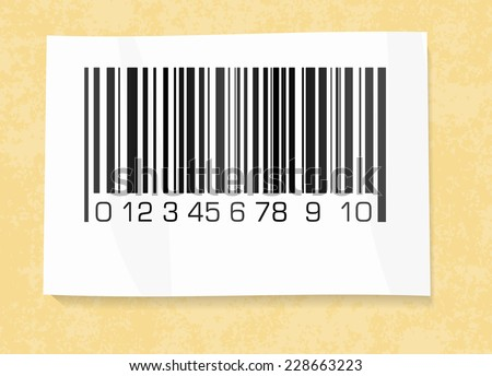 barcode label on a packing paper - stock vector