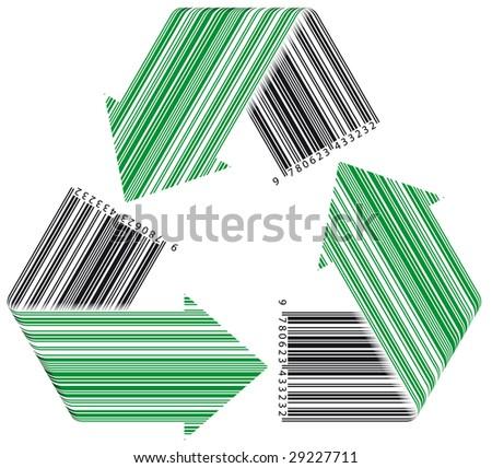 Barcode recycle. Concept: environment in business market - Vector - stock vector
