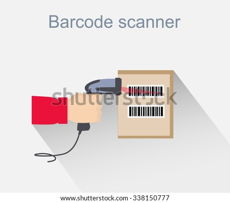 Barcode scanner icon design style. Barcode scanning, barcode reader, barcode scanner icon, reader for retail, data label, laser digital, identification scan information, scanning sale illustration - stock vector
