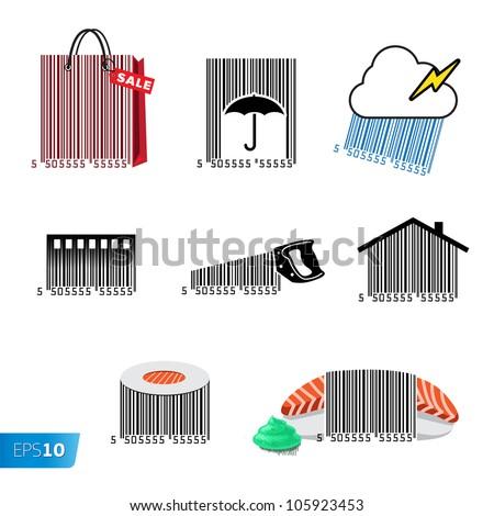 Barcode set, vector Eps10 illustration. - stock vector